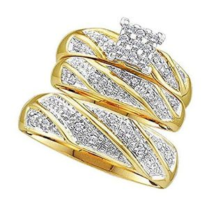 7. Yellow Gold and Cubic Zirconia Wrapped Pave Trio