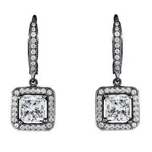 7. Cate & Chloe Ivy Faithful 18k Gold Princess Bridal Earrings