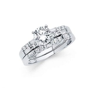 5. Universal Jewels14k White Gold Solid Engagement Ring
