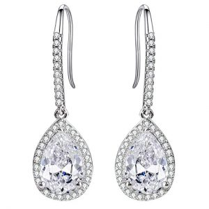 4. EleQueen Silver-tone Cubic Zirconia Tear Drops