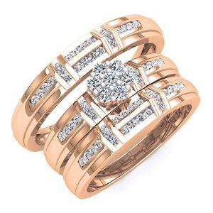 3. ½ Carat Diamond Rose Gold Pave Set Wedding Band Trio
