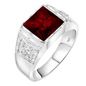 4. Sterling Manufacturers Red Square Center Stone Ring