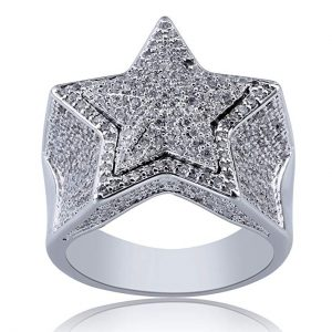 10. SHINY.UGold Plated Iced Out White Gold Rings for Men