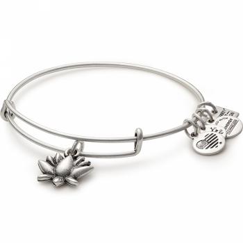 Alex and Ani Charity By Design Lotus Blossom Rafaelian Silver Bangle Bracelet