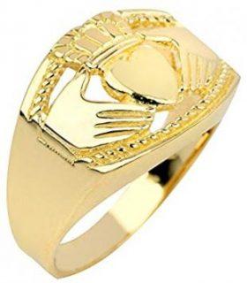 Bold 10k Yellow Gold High Polish Band Irish Claddagh Ring for Men