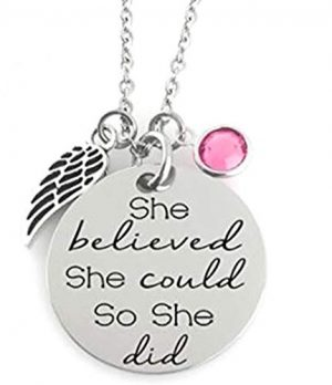GLAM - ''SHE BELIEVED SHE COULD SO SHE DID'' Inspirational Positive Message Mantra Pendant Angel Bird Wing Charm Necklace