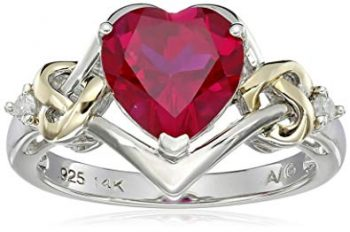 Heart Shape .03 cttw Diamonds in Silver Created Ruby Ring