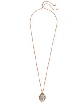 Kendra Scott Kalani Adjustable Pendant Necklace in Sable Mica and Rose Gold