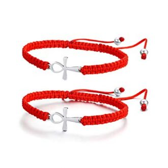 Mealguet Jewelry Adjustable Macrame Braided Lucky Red String Bracelets with Stainless Steel Cross Charm for Women Girl