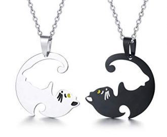 PJ Stainless Steel Yin Yang Pet Cat Puzzle Piece Matching Couple Pendant Necklace