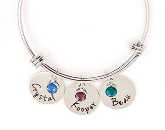 Personalized Bangle Bracelet Mom Grandma Birthstone Names