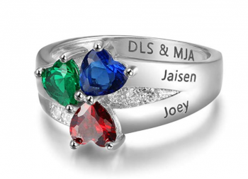 Personalized 3 Simulated Birthstone Mother Children Rings Engraved 3 Names Rings for Family Jewelry