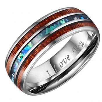 Crownal 8mm Koa Wood and Abalone Shell Ring
