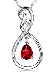 Valentines Day Jewelry Gift Red Garnet Necklace Infinity Pendant Sterling Silver Swarovski Birthday Anniversary Gift for Her for wife