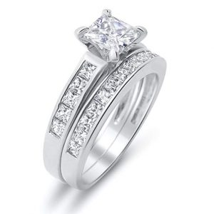 5. Cubic Zirconia and Brushed Sterling Silver Set Wedding Band Trio