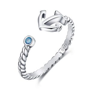 925 Sterling Silver Nautical Anchor Blue Birthstone CZ Ring Expandable Open