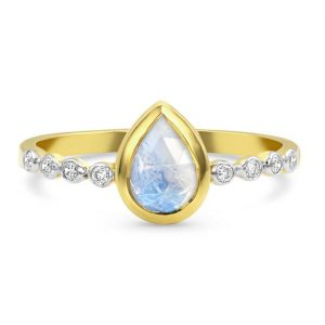 olid 14kt Yellow Gold Moonstone Ring with Diamonds - Aphrodite