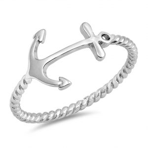 Anchor Bali Rope Band Fashion Cross Ring New 925 Sterling Silver Sizes 4-12