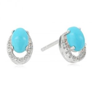 Sterling Silver Stabilized Natural Turquoise And Created White Sapphire Stud Earrings111111111111111