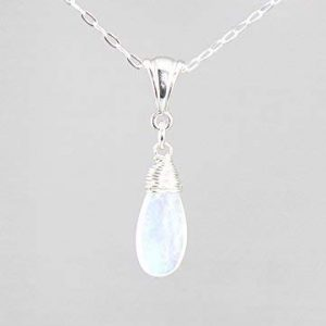 Moonstone Gemstone Minimalist Pendant Necklace and Sterling Silver Chain, June Birthstone 18 Length