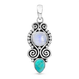 Moonstone Pendant - Turquoise Assemblage