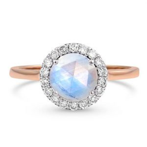 Solid 14kt Rose Gold Moonstone Ring with Diamonds - Halo