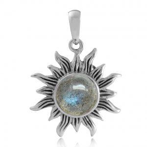 Natural Labradorite 925 Sterling Silver Sun Solitaire Pendant