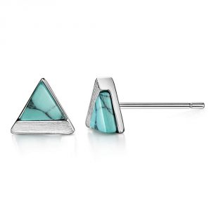 Turquoise Stud Earrings Sterling Silver Triangle Round Cut Brushed Finish Fine Jewelry for Women