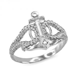 Twisted Style Nautical Rope and Anchor CZ Ring in Sterling Silver