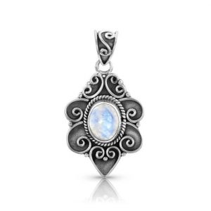 Moonstone Pendant - Floral Delight