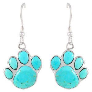 Dog Paw Earrings in Sterling Silver & Genuine Turquoise & Gemstones