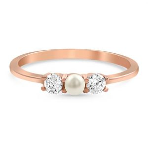 14kt Rose Gold Vermeil Freshwater Pearl Ring - Nymph