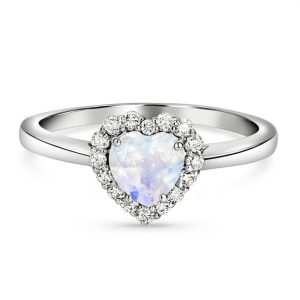 14kt Solid White Gold Moonstone Diamond Ring - Enchantment