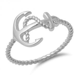 Oxford Diamond Co Plain Anchor Rope .925 Sterling Silver Ring Sizes 3-11