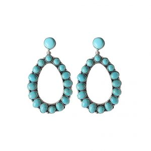 Turquoise Bohemian Dangle Metal Large Oval Earring