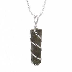 """Raw Labradorite Healing Crystal Pendant Necklace –for Joy Spontaneity Existential Crisis, Adventure Change Bad Habits - Authentic Stone on Silver Plated 18"""" Chain Real Gemstone Chakra Charm"""