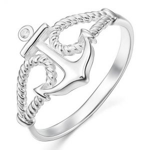 INBLUE Women's 925 Sterling Silver 13mm Ring CZ Silver Tone Rope Anchor Nautical