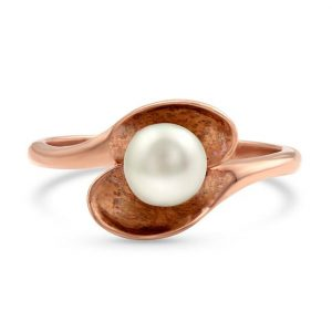 14kt Rose Gold Vermeil Freshwater Pearl Ring - Sweet Shell