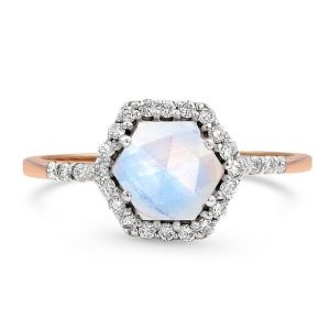 Solid 14kt Rose Gold Moonstone Ring with Diamonds - Abundance