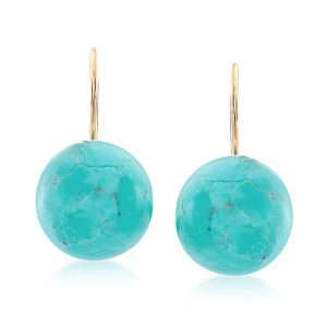 Ross-Simons Button Turquoise Drop Earrings in 14kt Yellow Gold