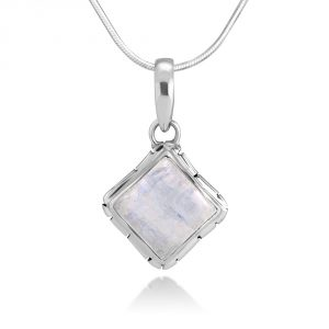 Sterling Silver Moonstone Healing Gemstone Square Pendant Necklace w 18 Silver Chain