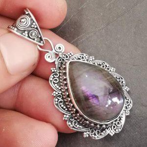 Purple Labradorite Pendant, 925 Sterling Silver, Heavy Pendant, Antique pendant, Friendship Pendant
