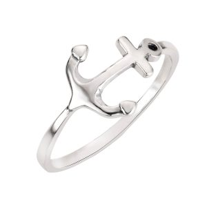 CloseoutWarehouse Sterling Silver Anchor Ring (Color Options, Sizes 3-15)