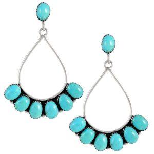 Sterling Silver Earrings in Genuine Turquoise & Gemstones