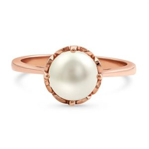 4kt Rose Gold Vermeil Freshwater Pearl Ring - Amoria