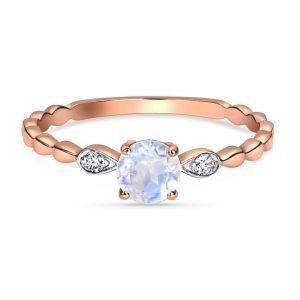 14kt Solid Rose Gold Moonstone Diamond Ring - Tangled Up