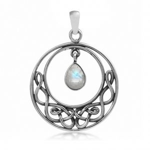Natural Moonstone 925 Sterling Silver Celtic Knot Drop Dangle Pendant