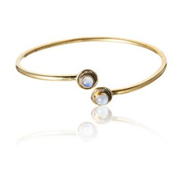 81stgeneration Women's Brass Gold Tone Moonstone Adjustable Bangle Cuff Bracelet
