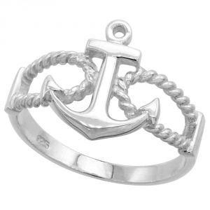 Sterling Silver Anchor Ring 916 inch (14 mm) long