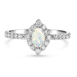 14kt Solid White Gold Opal Diamond Ring - Devotion